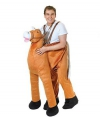 Pluche instap paard kostuum One size Bruin