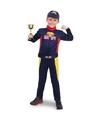 Race/Formule 1 jumpsuit met trofee voor jongens Blauw