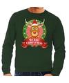 Rendieren kersttrui groen Merry Christmas heren XL (54) Groen