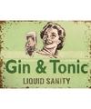 Metalen plaatje Gin Tonic Liquid Sanity 15 x 20
