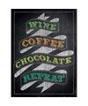 Metalen plaatje Wine Coffee Chocolate Repeat 30 x 40