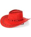 Rode lederlook cowboyhoeden