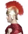 Goudkleurige romeinse hoed met veren