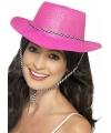 Knalroze cowboy hoed met glitters