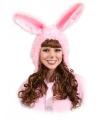 Roze konijnen muts voor dames