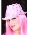 Roze trilby hoedje met pailletten