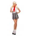 Schoolmeisje rok met zwart witte ruiten 40 (L) Zwart