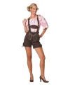 Oktoberfest donkerbruine lederhose voor dames