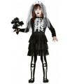 Skelet bruid meisjes kostuum zwart wit