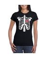 Skelet halloween t-shirt zwart voor dames M Zwart