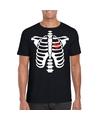 Skelet halloween t-shirt zwart voor heren S Zwart