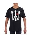 Skelet halloween t-shirt zwart voor jongens en meisjes S (122-128) Zwart