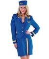 Stewardessen kostuum dames blauw 42 (XL) Blauw