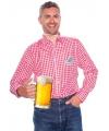Bierfeest overhemd voor heren  rood met wit