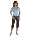 Tiroler geruite blouse off shoulders blauw 38 (S) Multi