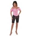 Tiroler geruite blouse off shoulders roze 40 (M) Roze