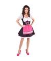 Tiroler verkleed jurk zwart/wit met fuchsia roze schort voor dames 40 (L) Roze