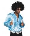 Turquoise rouche overhemd voor heren M Turquoise