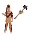 Verkleed indianen outfit voor kinderen maat M met tomahawk M Bruin