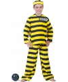 Verkleedkleding boevenpak geel zwart gestreept 140 Multi