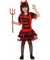 Verkleedkleding duivel jurkje voor meisjes 128-134 (7-9 jaar) Rood