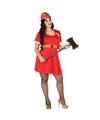 Voordelige grote maten brandweervrouw kostuum XXL (46-48) Rood