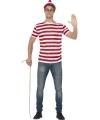Waar is Waldo verkleedkleding voor heren 48-50 (M) Multi