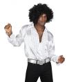 Witte rouche overhemd voor heren L Wit