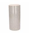 Witte vaas met retro print 28 cm