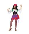 Zigeunerinnen kostuum paars/roze voor dames 3-delig M/L (38-40) Multi