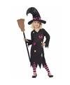 Zwart met roze heksenjurk Rosy kind 130-143 (7-9 jaar) Zwart