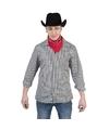 Zwart met wit geruit cowboy overhemd voor heren 48-50 (S/M) Multi
