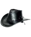 Zwarte lederlook cowboyhoeden