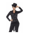 Zwarte pailletten circus jas voor dames 40-42 (M) Zwart