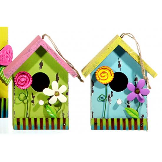 Gele vogelhuisjes met bloem 16 cm fun en feest - Deco kleine tuin buiten ...
