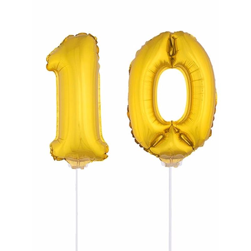 Folie ballonnen cijfer 10 goud 41 cm : Fun en Feest
