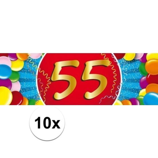 10x 55 Jaar leeftijd stickers verjaardag versiering Multi