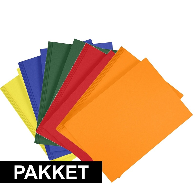 10x A4 hobbykarton in vijf kleuren Multi