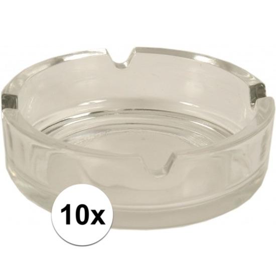 10x Asbakken van glas Transparant