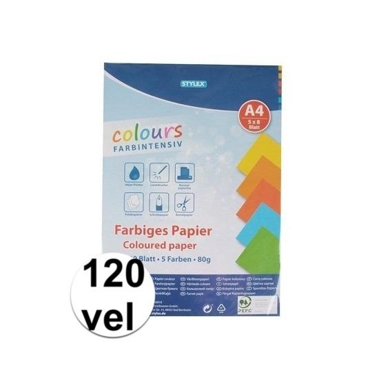 120 velletjes gekleurd tekenpapier A4 Multi