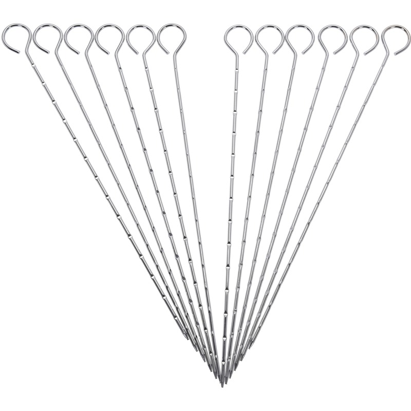 12x Barbecuepennen 27 cm Zilver
