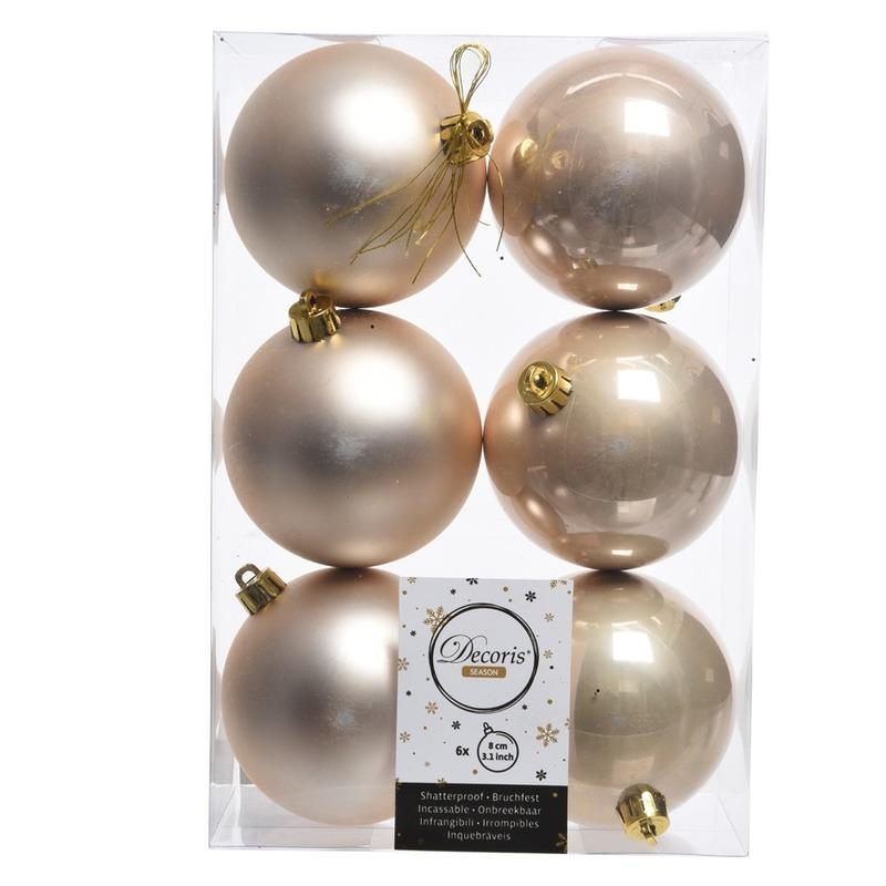 12x Creme kerstballen van kunststof 8 cm Creme