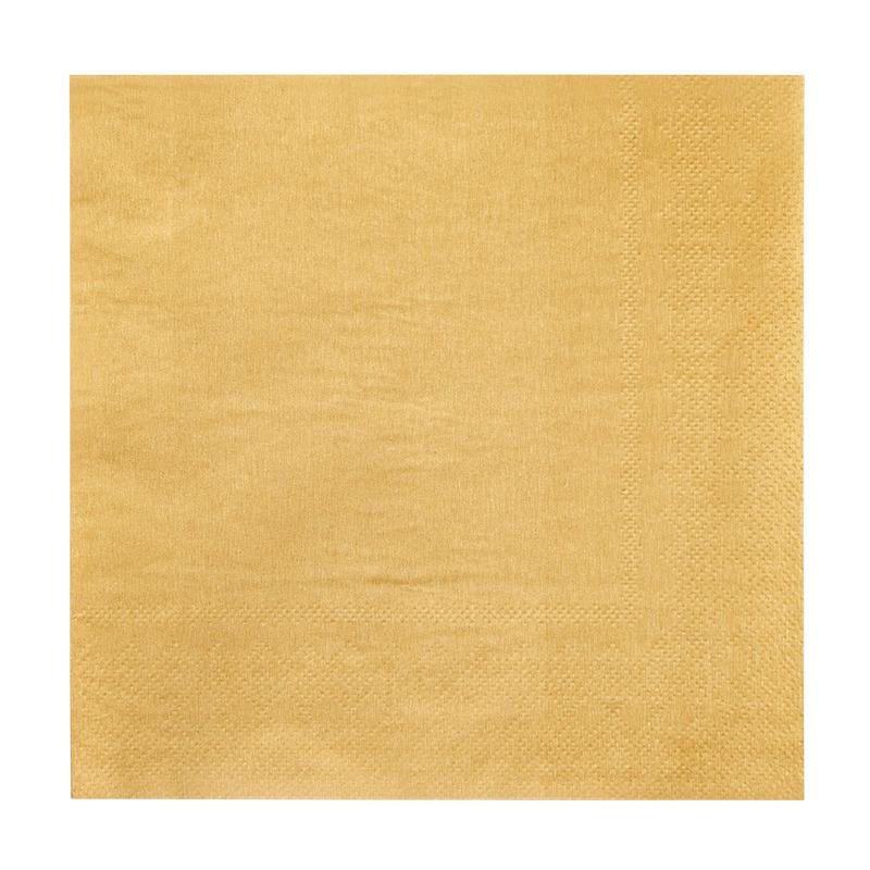 12x Feest servetten goud 33 x 33 cm -