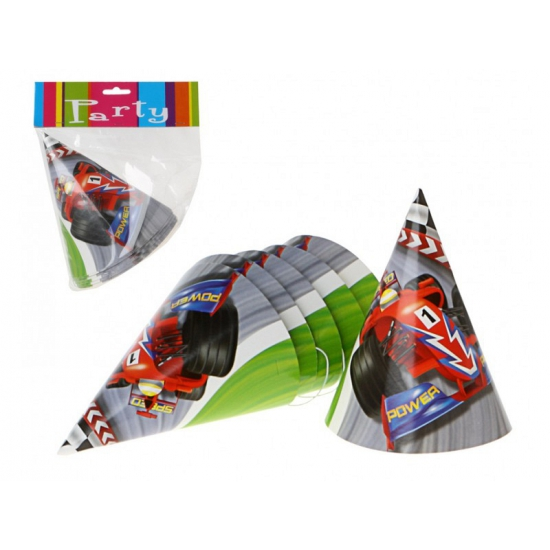 12x Kinderfeest thema Formule 1 feesthoedjes - Verkleedhoofddeksels