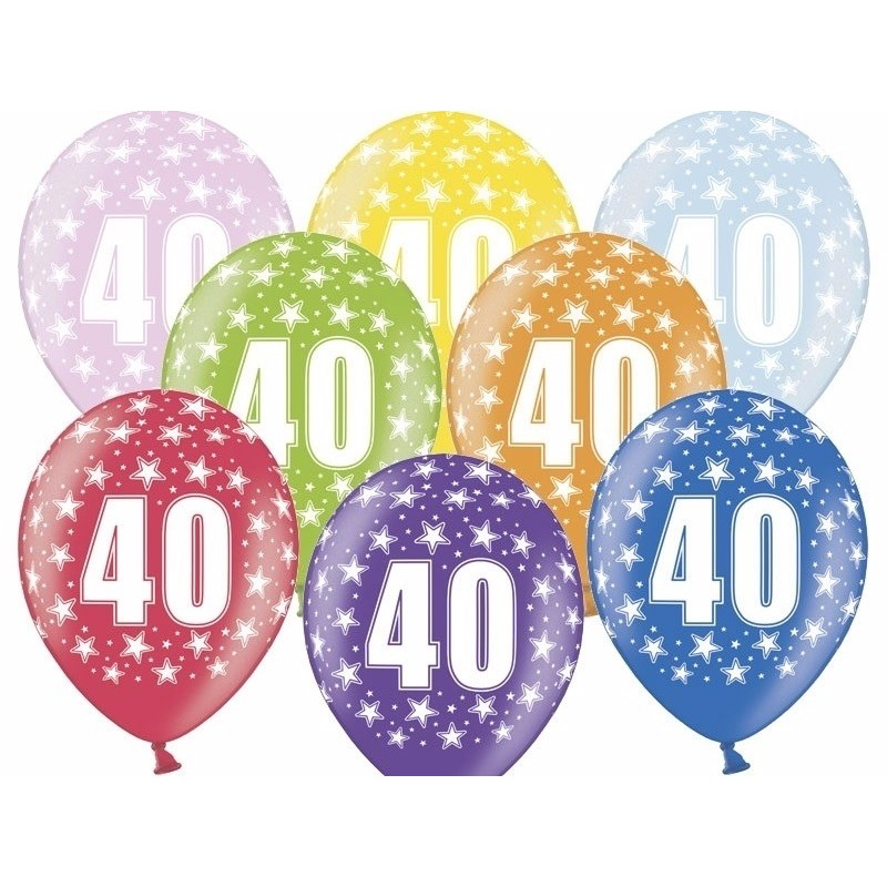 12x stuks 40 jaar ballonnen feestartikelen Multi