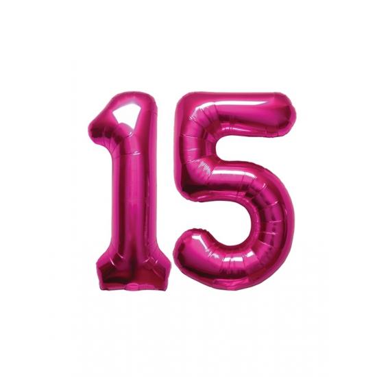 15 jaar Verjaardag ballonnen 15 jaar roze | Fun en Feest 15 jaar