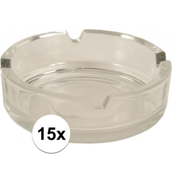 15x Asbakken van glas Transparant