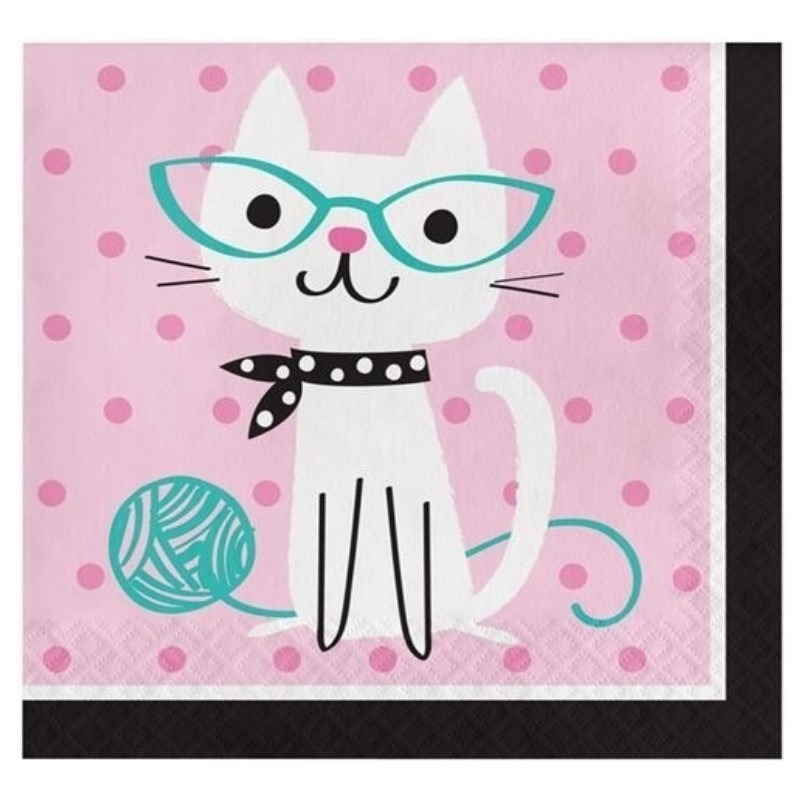 16x Katten/poezen feest servetjes -