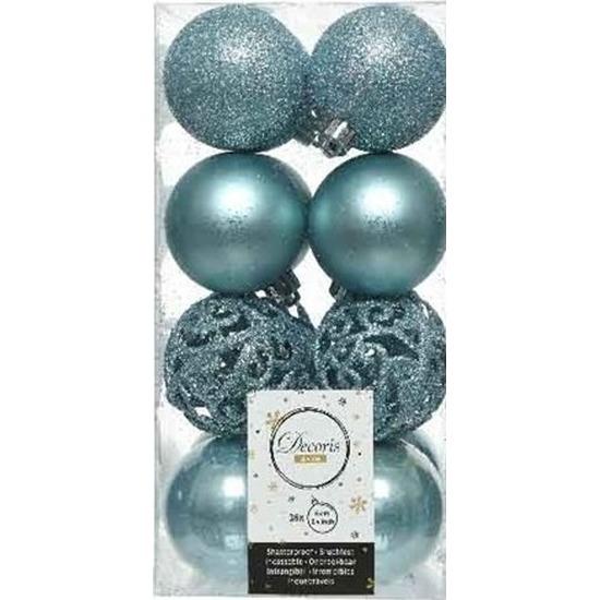 16x Kunststof kerstballen mix ijsblauw 6 cm kerstboom versiering/decoratie Blauw