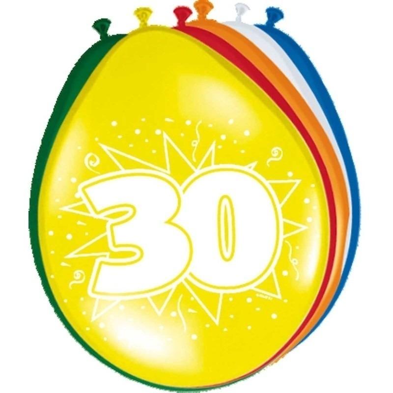 16x stuks 30 jaar feestartikelen ballonnen versiering Multi